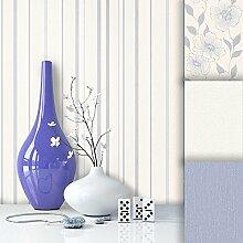 Tapete Edel Vliestapete Weiß Blau Streifen , schönes Design mit Luxus Effekt , moderne Natur Optik für Wohnzimmer, Schlafzimmer, Flur oder Küche inkl. Newroom Tapezier Profibroschüre mit super Tipps!