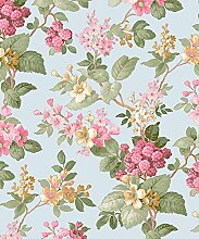 Tapete Floral Country Shabby mit Blumen pink,