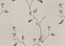 Tapete Floral Designer in Vinyl waschbar Effekt Stoff gestreift mit glitzernden Details mit Boden Klar Blumen Elfenbein Und Taupe und Blätter hellblau z6246Classic Top