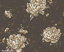 Tapete Floral mit große Rose Beige und verschiedenen Nuancen in Farben Warm Taupe und Gold. Blumen Glitzer Gold auf Boden Effekt Stoff Farbe Schlamm. Penelope 7228