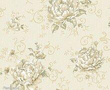 Tapete Floral mit große Rose Blended Farben Elfenbein biscremefarben weiß, beige, grün Militärische, Gold und Taupe. Boden-Farbe Beige in Textur Effekt Stoff. Penelope 7223