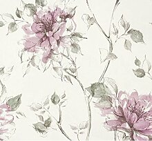 Tapete Floral mit großen Blumen-Pfingstrose