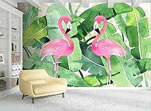 TapeteFototapete 3D Effekt Bananenblatt Flamingo