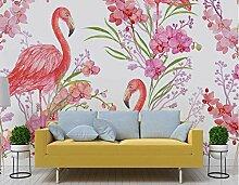 TapeteFototapete 3D Effekt Flamingo Rosa Blumen