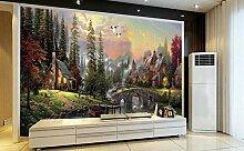 Tapete Fototapete 3D Effekt Gemälde Wald Wandbild
