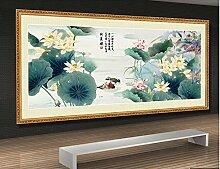 Tapete Fototapete 3D Effekt Handgemalter Lotus