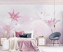 Tapete Fototapete 3D Effekt Rosa Lilie, Wolken,