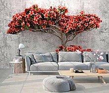Tapete Fototapete 3D Effekt Rote Blumen Abstrakte