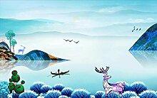 Tapete Fototapete 3D Effekt Scenic Blaue Berge