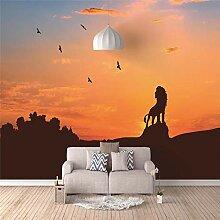 Tapete Fototapete 3D Effekt Sonnenuntergang, Löwe