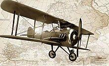 Tapete Fototapete 3D Effekt Tapeten Retro Flugzeug