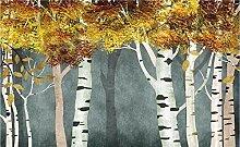 Tapete Fototapete 3D Effekt Vintage Wald Birke