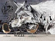 Tapete Fototapete 3D Effekt Wolf Ziegelmauer