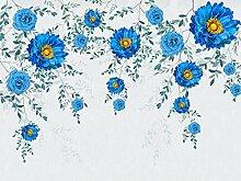 Tapete Fototapete Blaues Blumenblattaquarell