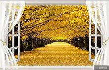 Tapete Fototapete Gelbe Waldfensterlandschaft