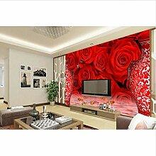 Tapete für 3d Hauptdekoration Rote Rose Vase