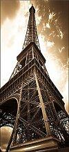 Tapete für Tür Irre L Auge Deko Eiffelturm Sepia OEM 056, 83x204cm