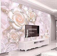 Tapete Für Wände 3D Rosa Blume Schmuck Perle
