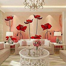 Tapete für Wände 3D rote Pflanzenblumen
