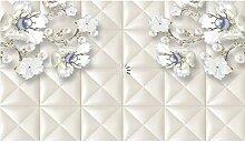 Tapete Für Wände 3D Weiße Blumen Perlen Foto 3D
