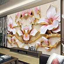 Tapete Für Wände Rolle 3D Relief Blume Tv