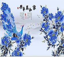 Tapete für Wohnzimmer 3D Tapete blaue Pfingstrose
