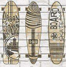Tapete für Zuhause, Büro, Retail/Graffiti Skateboard Tapete, perfekt für Jugendliche Zimmer der, Hip Hop, Urban Art (Funny Skateboard auf Rolle Ziegelwand)/53cm x 10m (Fadenzahl X 32,8Ft), hergestellt in Italien, mehrfarbig