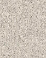 Tapete Greige Gold Grafisch für Wohnzimmer