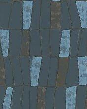 Tapete Grün Blau Grafisch für Schlafzimmer