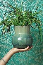 Tapete Grün Intenso mit Blättern in Silber