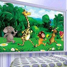 Tapete Grüner Wald Cartoon Tiere Kinderzimmer