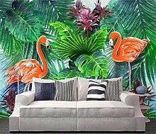 Tapete Hand gezeichnete Flamingo der en Pflanze