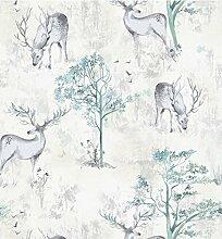 Tapete Hirsch Waldbäume Tierdruck, abstraktes