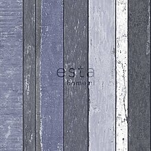 Tapete Holzoptik Blau - 138251 - von ESTAhome.nl