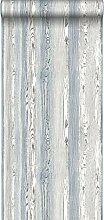 Tapete Holzoptik Blau und Grau - 148626 - von
