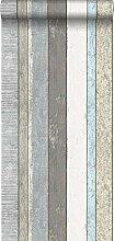 Tapete Holzoptik Grau und Hellblau - 138250 - von