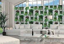 Tapete Holzoptik mit Pflanzen Blätter Efeu Weiß Grün aus Papier duplex Natur Country Reality 2Cod 51157104.
