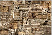 Tapete Holzoptik - Vintage Holzkisten - Vlies