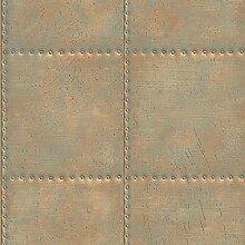Tapete im Metall-Grünspan-Look, türkis, BHF