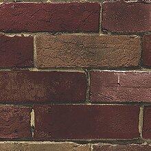 Tapete, im Vintage-Stil, Kunstleder, Rot/Hellbraun, Backsteinmauer Wirkt täuschend echt!