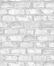 Tapete in Backstein Stein 3d Weiß mit Nuancen