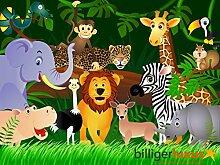 Tapete Kinder Dschungel Tiere 360 x 254 cm