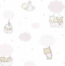 Tapete Kinder Pink Weiß Creme Feinwäsche für Neugeborene Position mit Plüsch Bären Sterne Wölkchen 580–2treboli