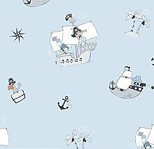 Tapete Kinder Piraten Hellblau Weiß Grau Schwarz 583–3treboli