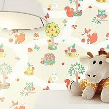 Tapete Kinderzimmer Beige niedliche Wald-Tiere |