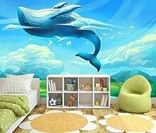Tapete mit 3D-Effekt Modern Cartoon Whale Blue