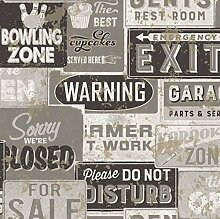 Tapete mit Collage Kennzeichen Vintage Farbe