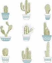 Tapete mit Kaktus grünen in Vasen blau auf Boden