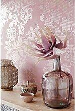 Tapete Modern Pink und Powerbank A Blumen Effekt Spiegel Yasmin 341742