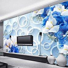 Tapete Moderne Mode 3D Kreist Blue Floral Tv